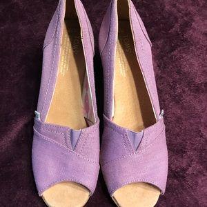 TOMS wedge heeled peep toe shoes.